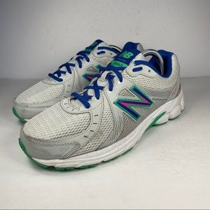 New Balance White Blue Green 450v3 Running Shoes